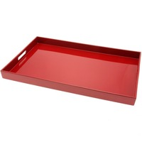 Red Acrylic Tray, handle acrylic fruit tray holder food tray, perspex dessert tray snack tray beverage holders
