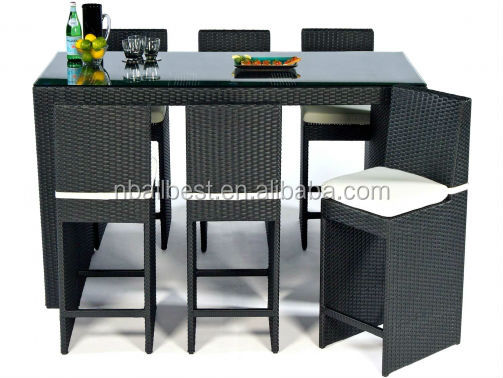 Home & garden commerical wicker <strong>bar</strong> table and chair and rattan <strong>bar</strong> furniture