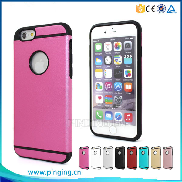 Fashion hybrid dual layer tpu & pc hard back cover for apple iphone 6s matte armor case