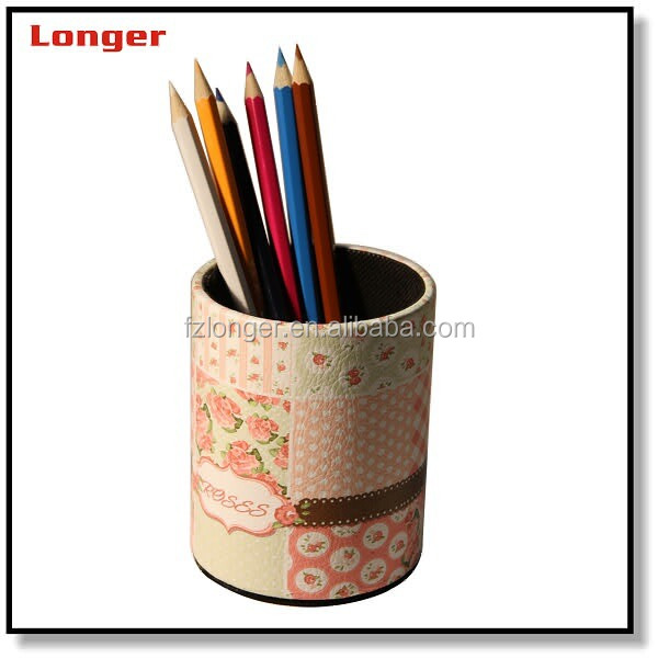 Hot sale custom school office used durable pu leather pen container