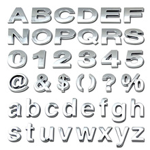 Custom self adhesive ABS plastic car 3D chrome letter and & numbers stickers