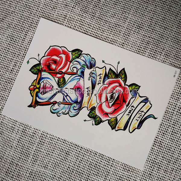 Beautiful Non-metallic Temporary Tattoo Sticker with Sand Clock Design
