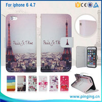 Eiffel Tower Back Cover For Leather iPhone 6 Case, For iPhone 6 Case Leather Wallet With Card Slots