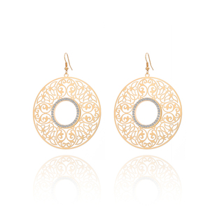 low MOQ Indian jewelry alloy rhinestone created crystal hollow halo round pendant simple gold plated fashion earring for women