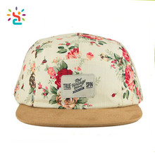 Custom Blank 5 Panel Cap Hat South Africa Hawii Floral Flower Hat Sublimation Printing Womens Suede Brim Hat Leather Strap