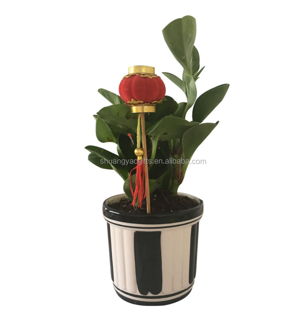 Plastic christmas red lantern stick for home decoration CNY lantern decoration for garden