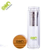 Coffee Double wall glass bottles manufacturer selling glass tea fruit filter infuser voss water bottle fruit with bamboo lid top