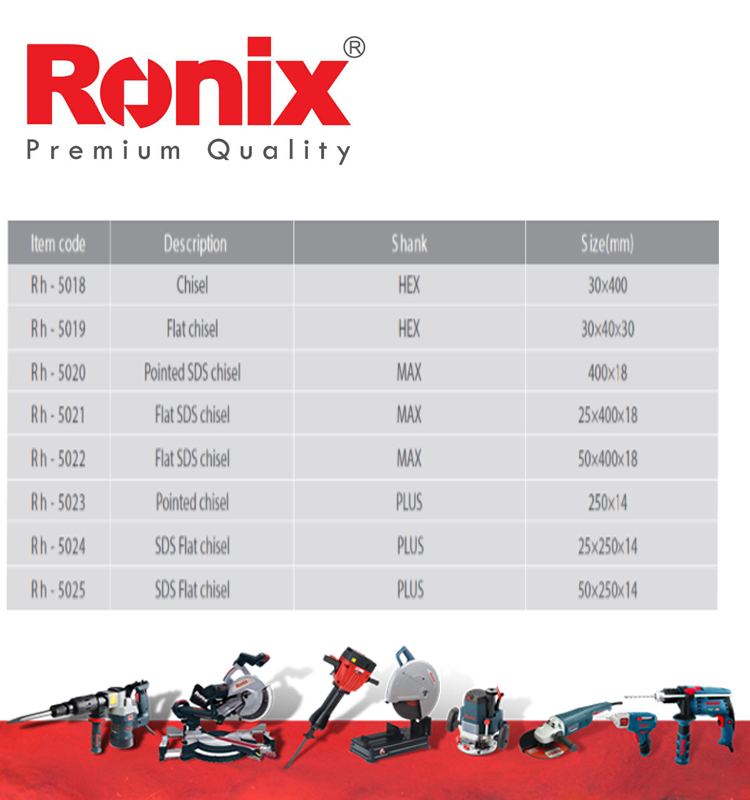 Ronix New design hot sale SDS High Carbon Steel Material chisel drill cordless RH-5018~RH-5028 IN STOCK