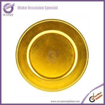 wholesale cheap beaded gold plastic charger plates for wedding