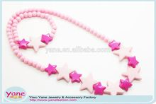 cheap cute kids necklace for girls , plastic beaded necklace, kids plastic necklace