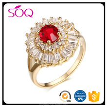 Luxurious ruby ring new design lady finger around the broken crystal