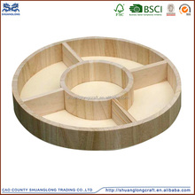 2016 cheap unfinished round decorative wooden compartment tea tray