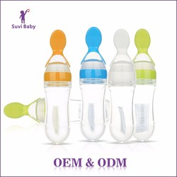 Wholesale Baby Bottle Type BPA Free Plastic Silicone Baby Feeding Bottle With Spoon
