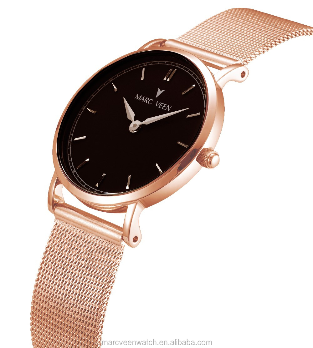 Build Your Own Brand Rose Gold Fashion Flat Band Quartz Watches Men