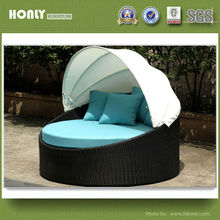 Outdoor garden round daybed lounge sofa bed with canopy