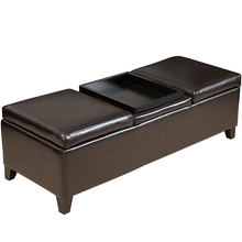 Faux Leather Folding Cube Foot Rest Stool smooth brown storage ottoman