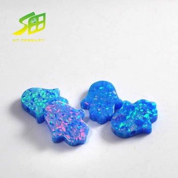 hot sale synthetic loose rough blue hamsa opal gemstone