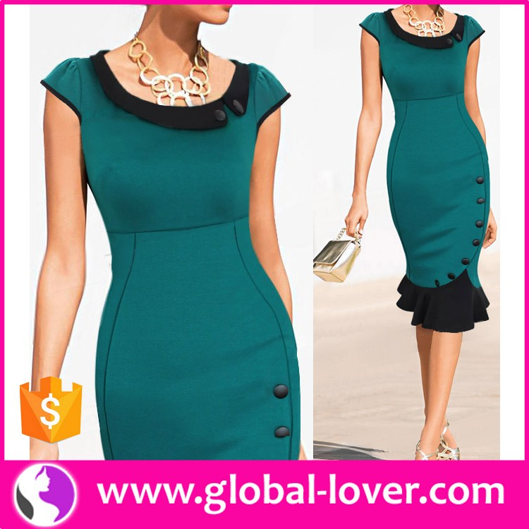 2016 best quality dark blue office lady latest formal <strong>dress</strong> patterns
