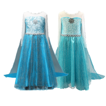 Girl Cosplay Party Dress Princess Costume Elsa Dress for Kids