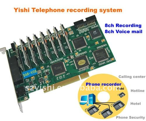 8CH DSP Automatic Answering Machine PCI type Voice Logging Recorder 8 Line Telephone Recorder