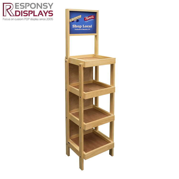 Customized 4 and 5 tiers floor wood vegetable and fruit or bakery display cabinet