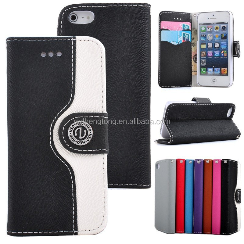 Wallet PU Leather Credit Card Mosaic Color Case For iPhone 5 with tuxture