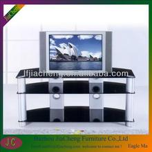 Modern LCD TV Stand /Corner TV Shelf Unit With Aluminium Metal Frame