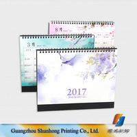 Offset printing New design spiral binding islamic table calendar 2017 wholesale