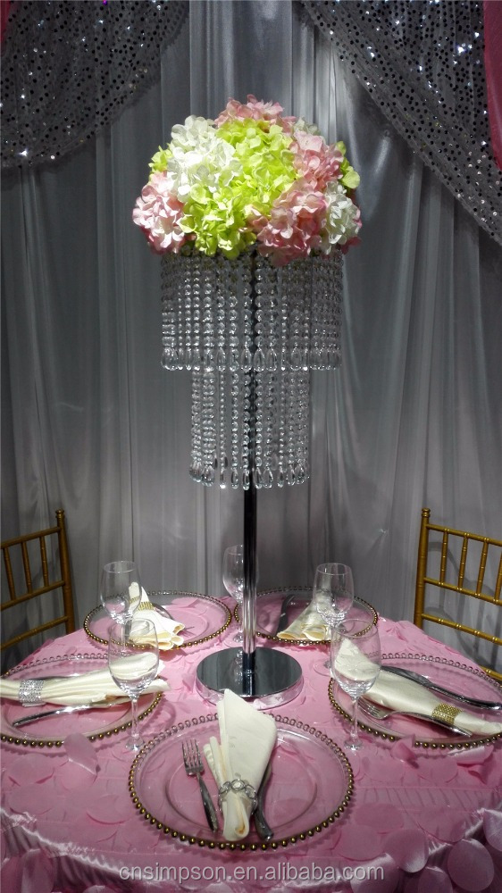 2 tiers crystal chandelier wedding centerpiece and flower stand with beautiful beads