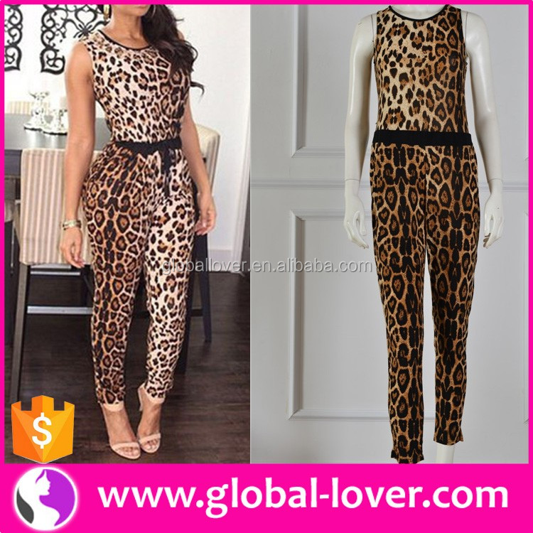Women Sexy Leopard Clothes 2016 Lady Leopard Jumpsuit Clothing