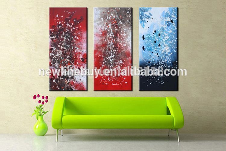 3 piece modern decoration art set Abstract Plentiful of colors hand painted Oil Painting on Canvas for living room