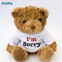 Factory cheap custom I'm sorry teddy bear plush stuffed soft toy in t shirt