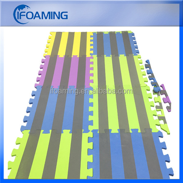 Shenzhen Cheap Wholesale Multi Color Strip Printed Interlocking Foam Mat Baby