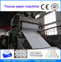 2400mm 8 ton/day high speed facial tissue paper making machinery using waste paper and wood pulp as raw material