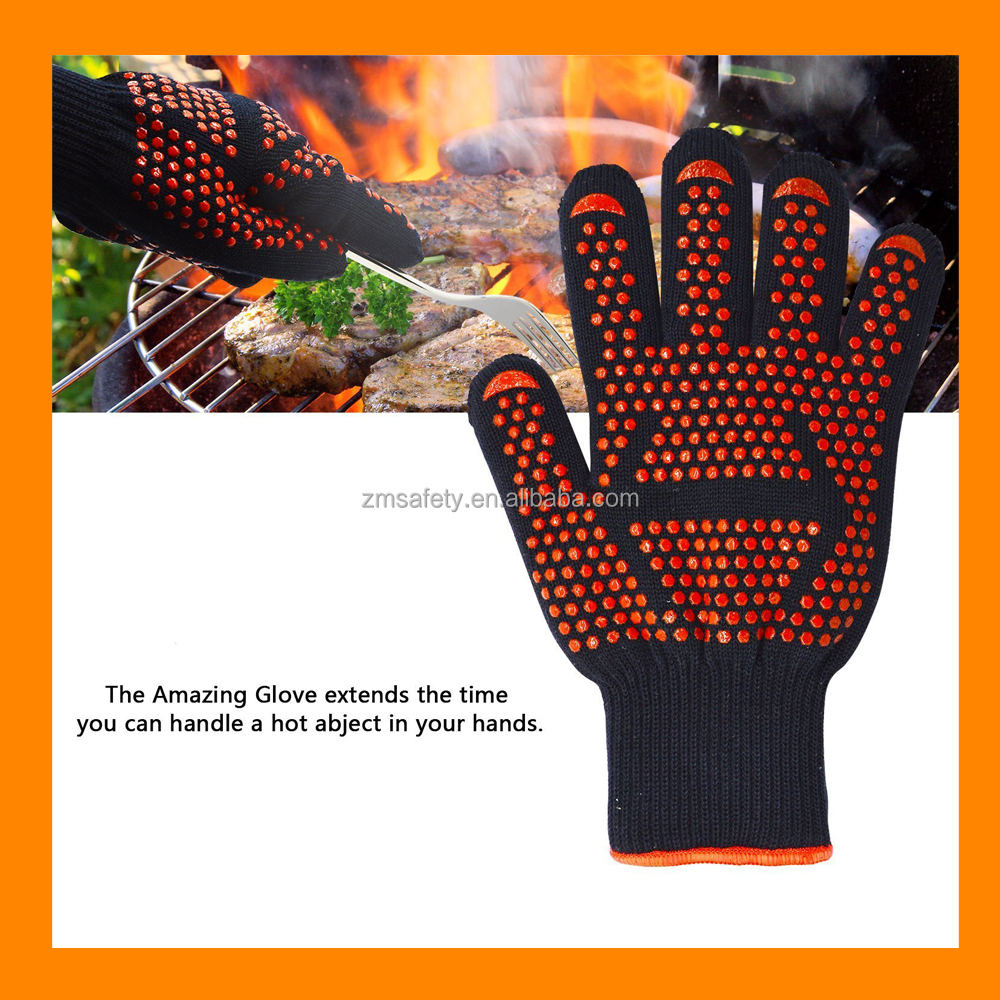 BBQ Cooking Gloves Kitchen Oven Mitts Silicone Grilling Gloves 932F Heat Resistant Oven Gloves with Extra Forearm Protection