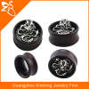 black wood steel casting ear piercing jewelry tunnel earring dragon