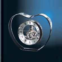 Factory price heart shape crystal acrylic mechanical clock for promotion table decoration gift
