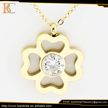 fashion necklace oem four leaf flower shape pendant big crystal rhinestone necklace jewelry
