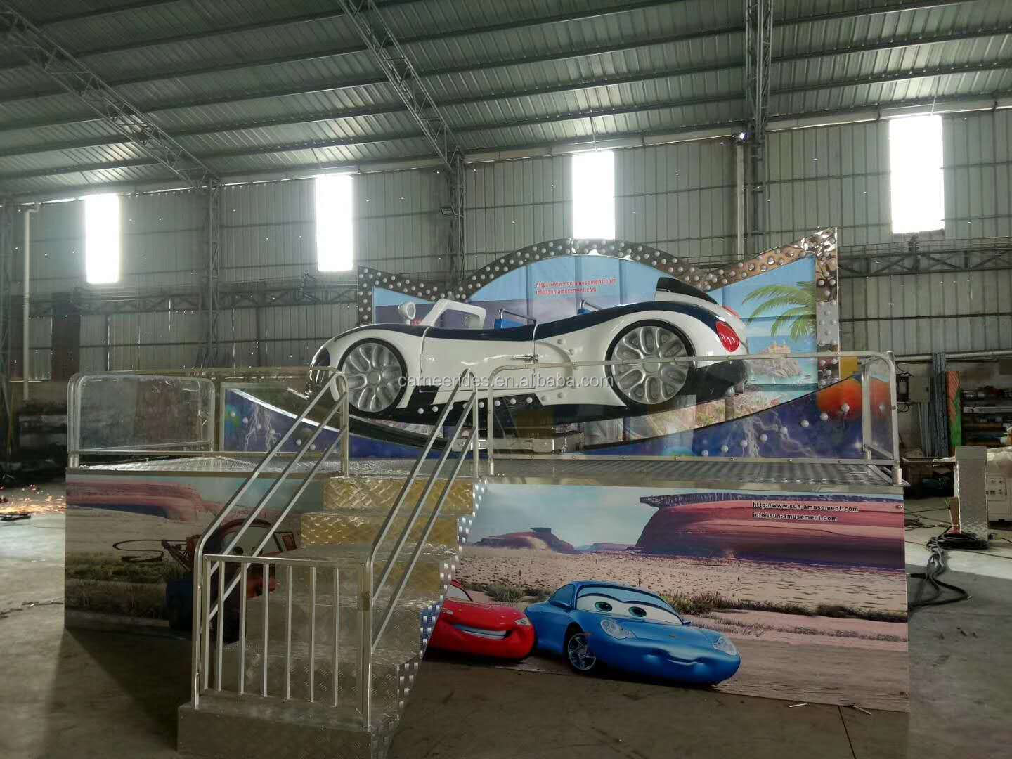 Outdoor Funfair Amusement Rides Mobile Kids Attractions Spinning Car