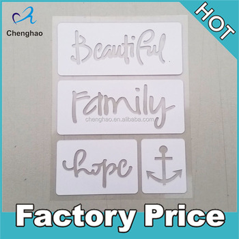 self adhesive drawing stencil words sets plastic stencil stickers