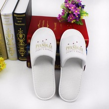 China factory towel fabric EVA sole hotel shoes with printed logo