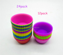 12/24 Pack Reusable Muffin Baking Cups Nonstick Silicone Cupcake Liners with Customized Package