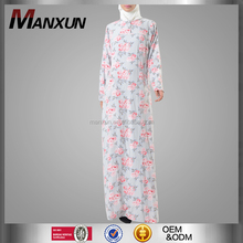 Rose Print Floral Long Dress Muslim Fashion Abaya Robe Dubai Style
