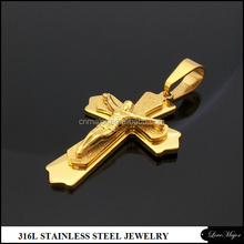 Cheap gold stainless steel cross pendant jesus jewelry gifts for men
