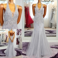 RP50064 Real gray slivery beaded backless sexy evenin gown first night dress halter neck dress patterns wholesale evening dress