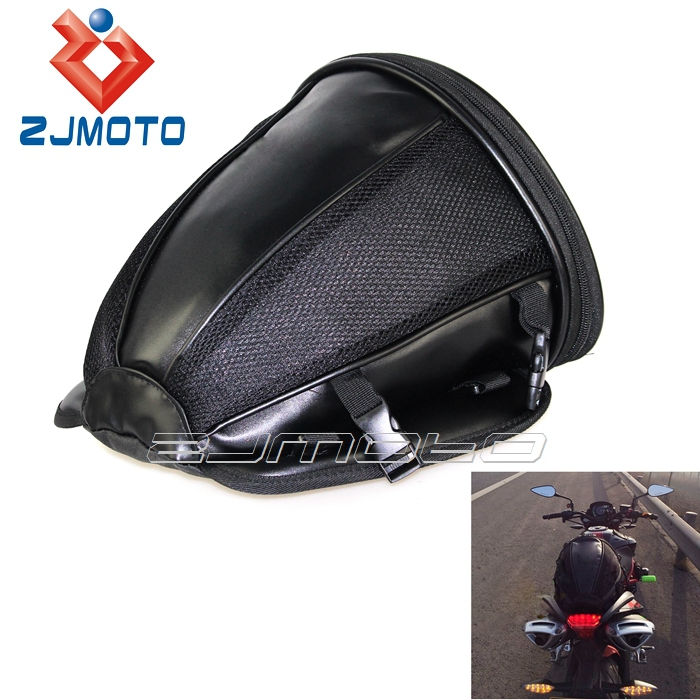 ZJMOTO Universal Black Storage Bag Motorcycle Accessories Package Saddle Bag Motorcycle Rear Back Seat Tail Bags Fit To All Bike