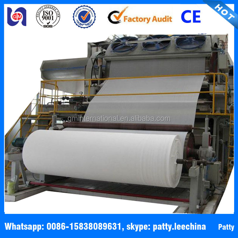 GM 1092mm-2880mm recycle paper/tissue paper machine making production line