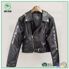 New Design Pu Jacket Embroidery Style Women faux Leather Jacket
