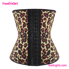 Wholesale 4 steel boned leopard print best waist trainer corset