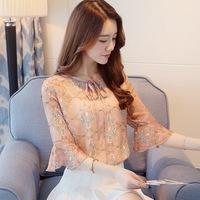 ZH0949C 2017 chiffon floral print ladies blouse fashion women short tops wholesale